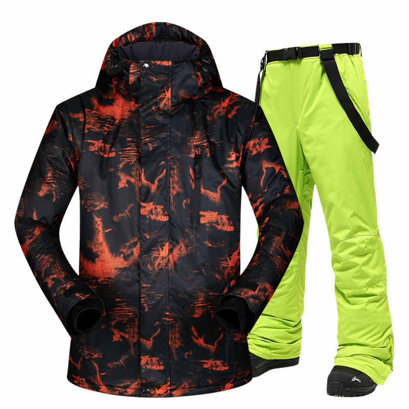 Ski Jacken Männer Warme Winter Skifahren und Snowboarden Anzug Jacken + Hosen Männlichen Winddicht Wasserdichte Tragen Winter Marken Männer Ski anzug