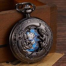 רטרו ברונזה מכאני שעון כיס יד מתפתל מגולף כפול חיילים אמיצים מזל חקוק כיס שעונים Fob שרשרת Flip שעון