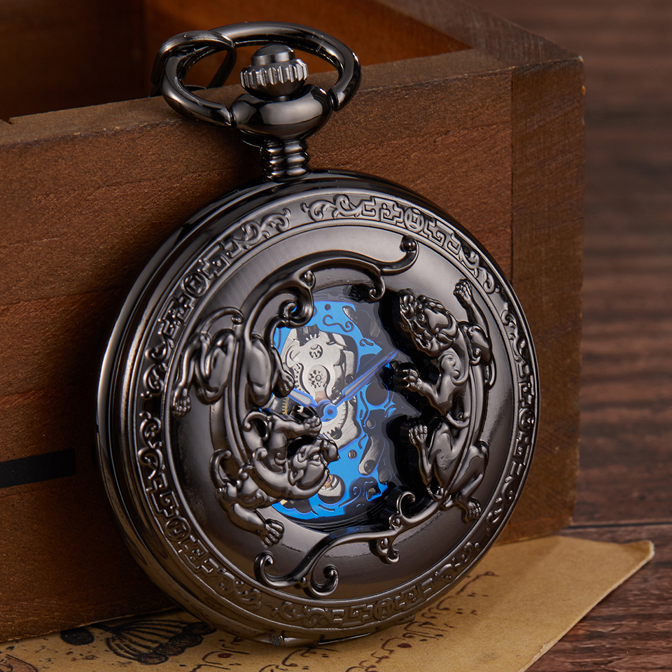 Retro Bronze Mechanical Pocket Watch Hand Winding Carved Double Brave Troops Lucky Engraved Pocket Watches Fob Chain  Flip Clock