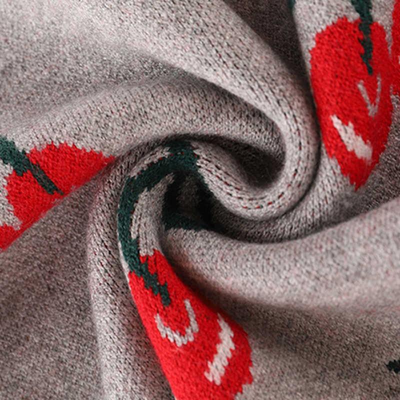 새로운 패션 여성 가을과 겨울 귀여운 체리 자카드 스웨터 Pullovers 숙녀 세련된 긴 소매 점퍼 톱 C-426 뜨개질