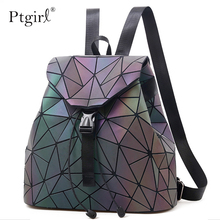 Fashion Women Laser Luminous Backpack School Hologram Geometric Fold Student School Bags For Teenage Girls holographic sac a dos celldeal mini hologram ladies women backpacks laser leather holographic mini multicolor for student school bags pink silver