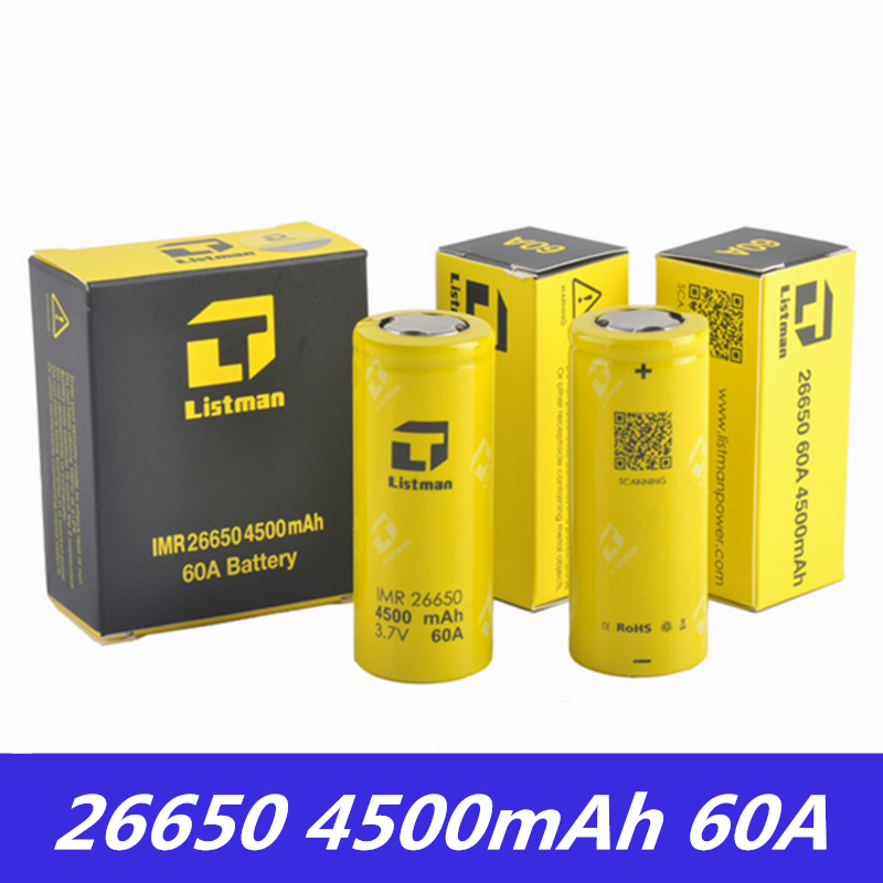 Original Listman 26650 batería 3,7 V 60A 4500mAh batería de litio recargable para caja de cigarrillos electrónicos mod 26650 Vape batería Funda de batería ultrafina PINZHENG de 4000mAh para iPhone 6 6s 7 8 Plus, carcasa de carga para iPhone X XR Xs Max, funda de cargador de batería