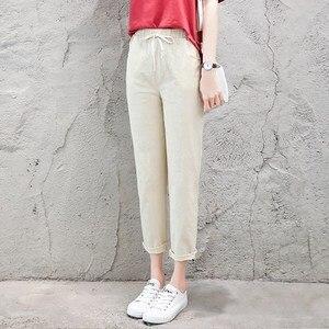Image 5 - קיץ הרמון פשתן מכנסיים נשים אופנה אלסטי אמצע מותן שחור מכנסיים 2019 Pantalon Femme משרד ליידי מקרית מכנסי עיפרון