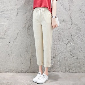 Image 5 - 夏ハーレムリネンパンツ女性ファッション弾性ミッドウエスト黒ズボン 2019 パンタロンのオフィスの女性のカジュアル鉛筆のズボン