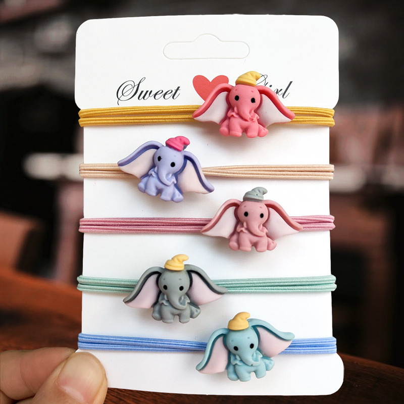 2pcs/lot Disney Cartoon Acrylic Dumbo Head Rope Girl High Elastic Rubber Band Hair Rope Cute Hair Ring Hair Accessories
