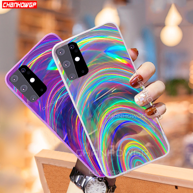 For Samsung Galaxy A51 Case Colorful Rainbow Mirror Soft Phone Case For Samsung A71 SM A515F A717F A 51 71 Gradient Laser Cover