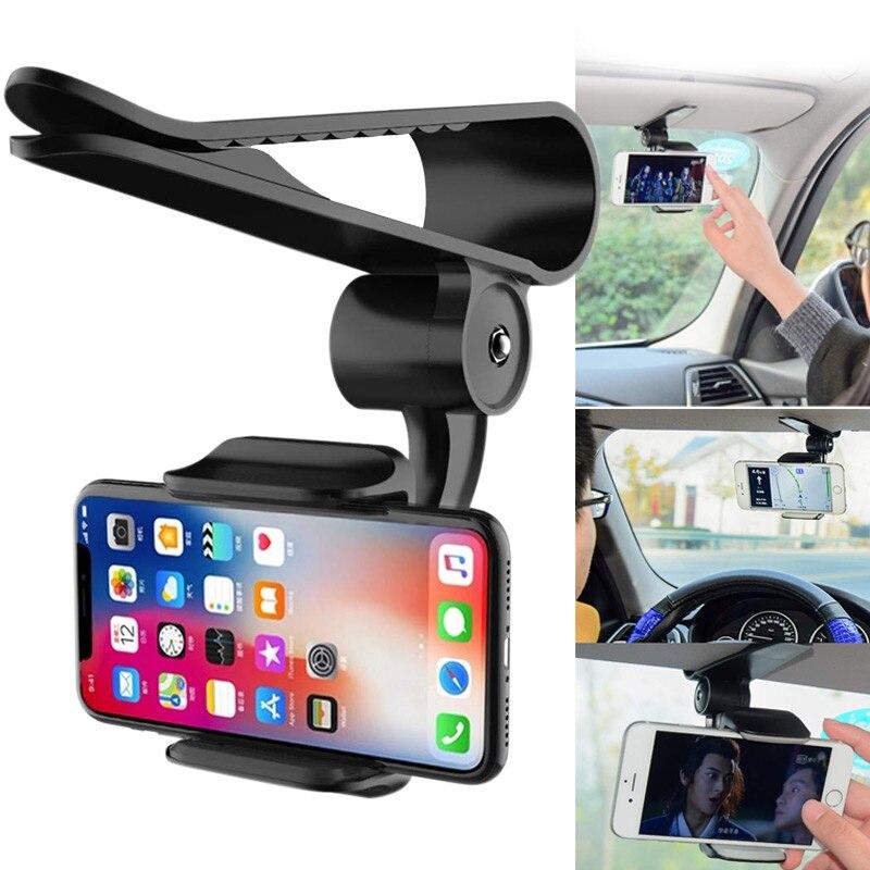 Sun Visor Car Cell Phone Holder 360 Rotating Car Mount Bracket for Universal Smartphones LHB99