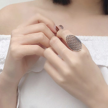 Kinel Real 925 Sterling Silver Mesh Ring Fashion Vintage for Women Opening Rings Fine Jewelry 2020 New Accessories Gift voroco 2019 real 925 sterling silver vintage london city rings for women fashion party wedding luxury fine jewelry gift bkr474
