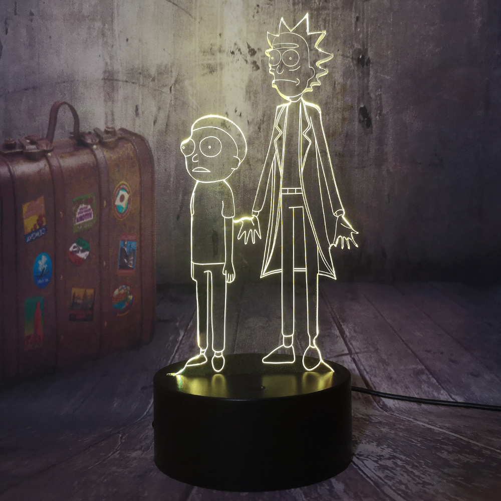 Cartoon Rick And Morty Humor Scientists Nursery 3D LED Night Light Baby Toys Illusion Table Lamp Bedroom Decor Christmas Gift