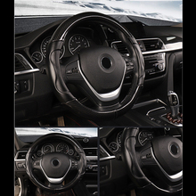 Carbon Fiber Car Steering Wheel Cover Protector Faux Leather Stitching 2018