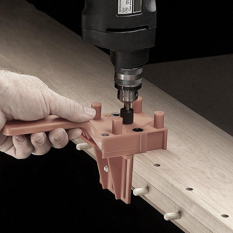 Nuovo Tassello Jig 6 8 10 Millimetri di Legno Hss Drill Bit Lavorazione Del Legno Jig Abs di Plastica Tasca Foro Jig Guida Della Fresa strumento per Carpenteria