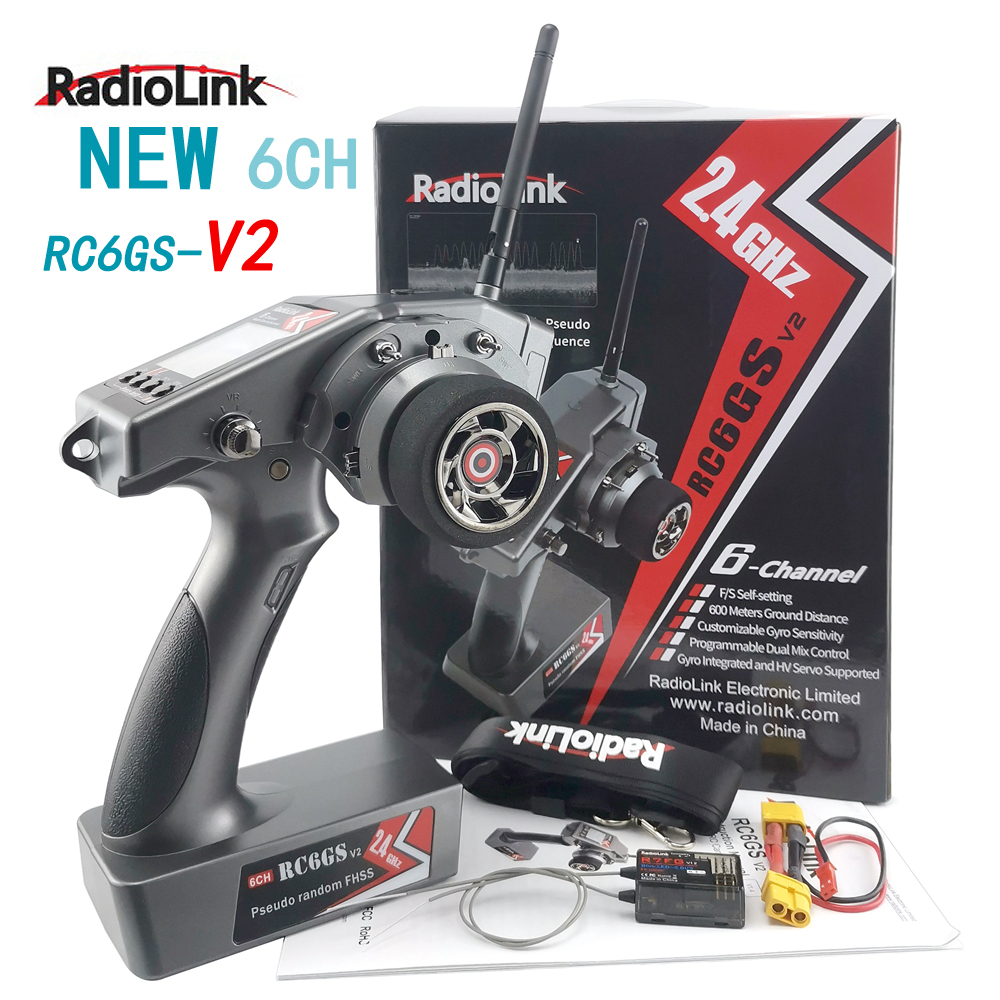 Free shipping RadioLink RC6GS V2 R7FG R6FG R6F 6 Channels 6CH Dual Mix Programmable 600M 400M Ground Distance Gyro Integrated