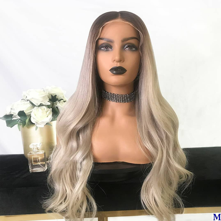Dark Brown/Lightest Blonde Peruvian Silk Top Full Lace Wigs 150Density Wavy Transparent Lace Deep Part Lace Front Human Hair Wig