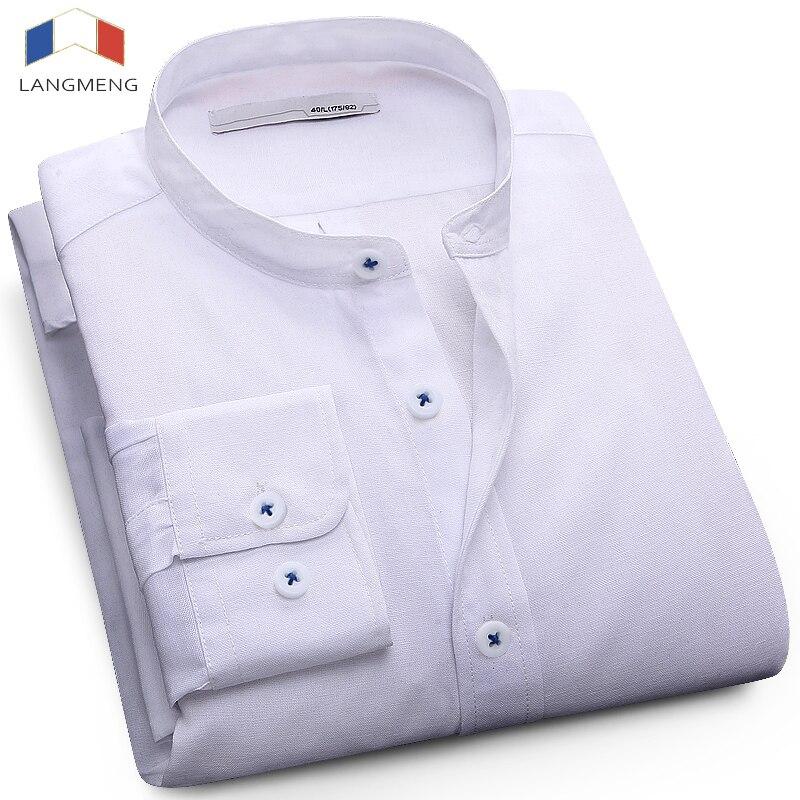 LANGMENG 2017 Men Plus Size 5XL Casual Shirt Mens Long Sleeve Business Shirts Brand Solid Dress Shirt White Blue Mandarin Collar