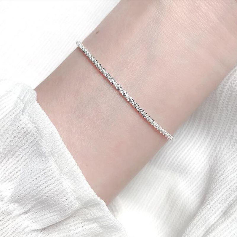 Elibeauty Thin 925 Stamped Silver Plated Shiny Chains Anklet for Women Girls Friend Foot Jewelry Leg Bracelet Barefoot Tobillera De Prata anklets