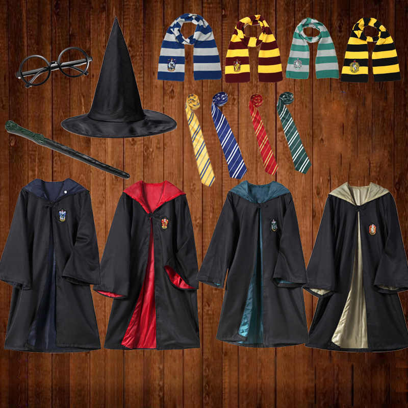 Potter Cosplay Costumes Outfits Magic Robe Cape Ravenclaw Gryffindor Hufflepuff Slytherin Halloween Hogwarts Uniform Cloak