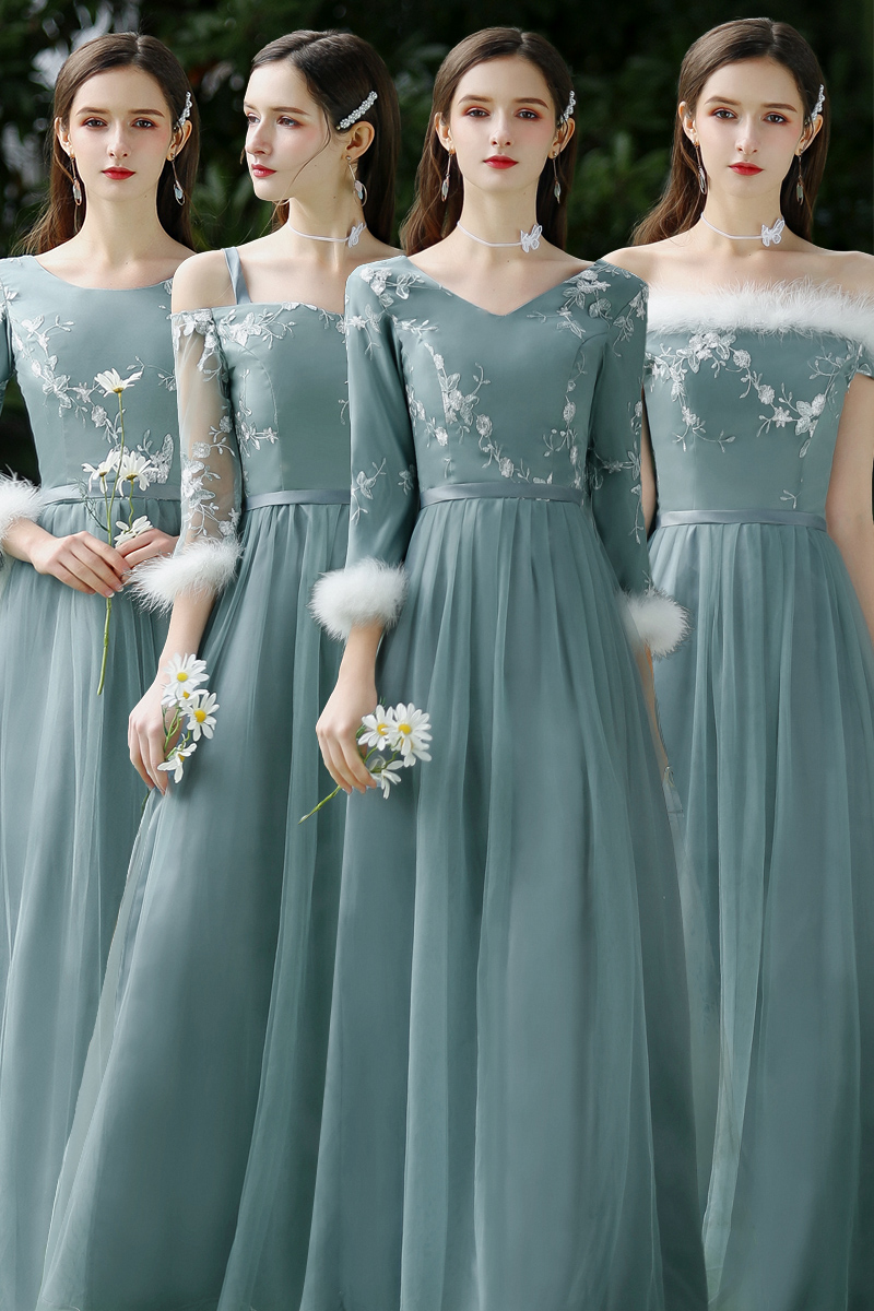 O-Neck Elegant Dress Women For Wedding Party Burgundy Bridesmaid Dresses Plus Size Tulle Vintage Embroidery Sexy Prom Vestido