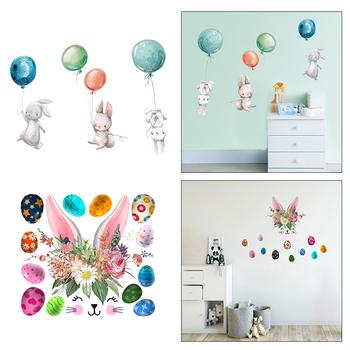 Wielkanocne króliki ściana z balonami naklejki DIY Bunny tapety naklejki do pokoju dziecięcego Mural przedszkole dla dzieci dekoracje do wnętrz do sypialni tanie i dobre opinie CN (pochodzenie) Płaska naklejka ścienna cartoon Jednoczęściowy pakiet WALL Wall Sticker NONE 90*28 5cm 35 43*11 22in