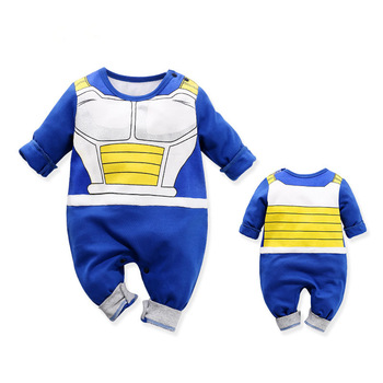 Barboteuse 100% coton costume Dragon Ball Z pour bébé garçon,combinaison à manches longues DBZ pour nouveau-né, déguisement d'Halloween, 1