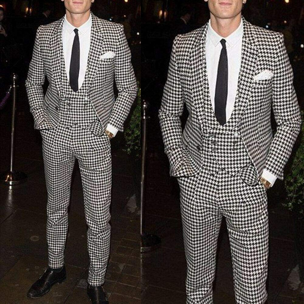 2019 New Casual 3 Piece Houndstooth  Men's Suits Set Slim Fit Handsome Groom Tuxedo For Wedding Prom Dinner Formal Blazer Pants