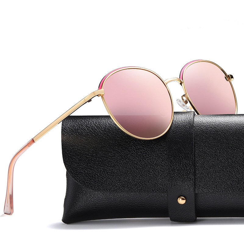 Luxury Round Polarized Sunglasses Women Brand Design Vintage Pink Sun Glasses Retro Mirror Sunglass Shades for Women UV400 Gafas