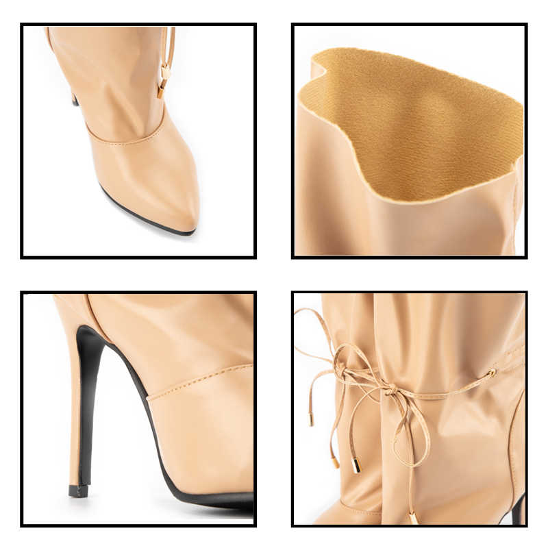 LALA IKAI 2020 yeni seksi kadın yüksek topuklu çizmeler bahar Pu deri ayakkabı kadın ince topuklu sivri burun parti yarım çizmeler c5563-4
