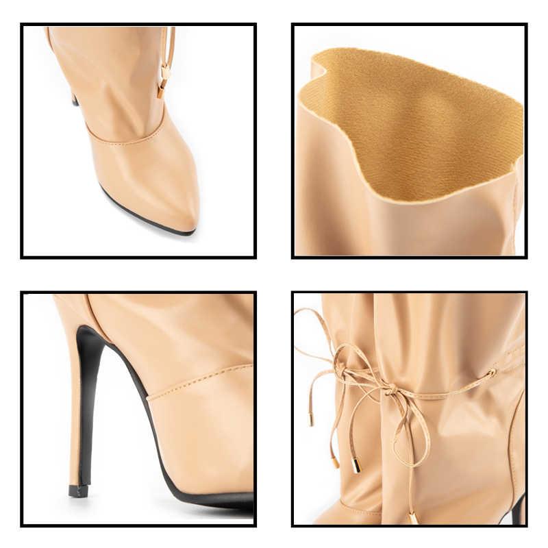 LALA IKAI kadın PU deri yarım çizmeler 2019 sonbahar ince topuklu ayakkabılar seksi parti pompaları kadın ofis dantel-up Chelsea çizmeler C5563-4