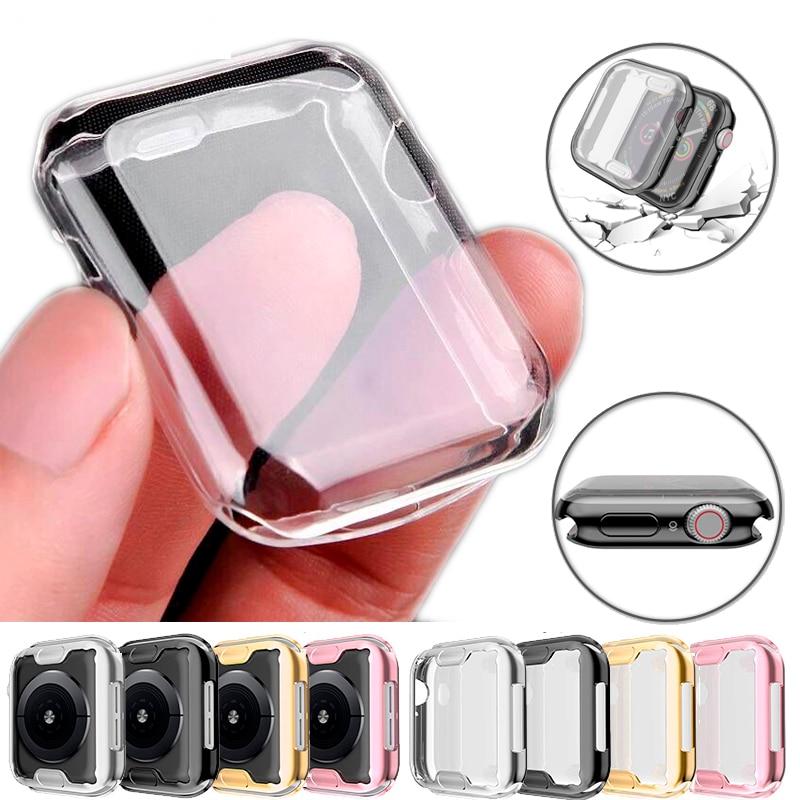 Capa transparente para apple assistir série 3 2 1 38mm 42mm 360 completo macio claro tpu protetor de tela caso para iwatch 4/5 44mm 40mm
