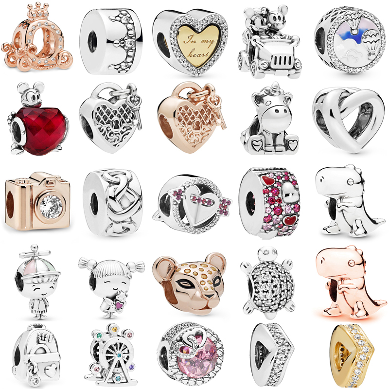 Octbyna Heart-shaped Loves Charms Beads Pendant Fits Pandora Bracelet&Necklace For Women DIY Crystal Accessories Jewelry Making