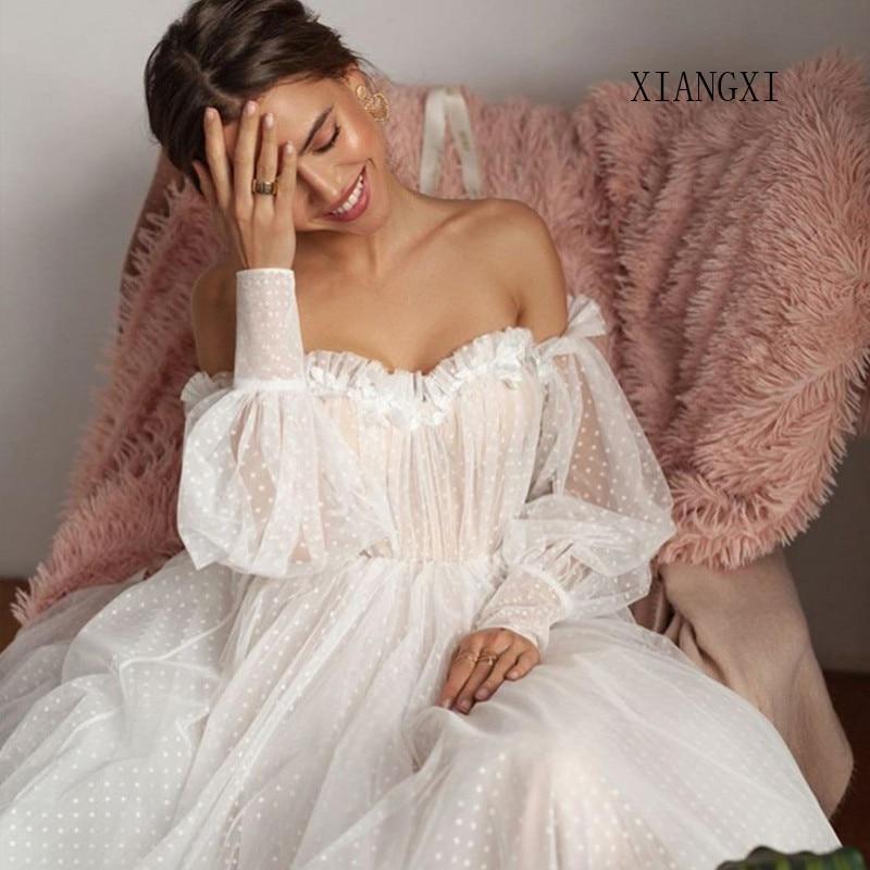 2020 Charming White Evening Dress Tulle  A-Line Off The Shoulder 3D Flower Full Sleeves Evening Dresses Vestido De Festa Longo