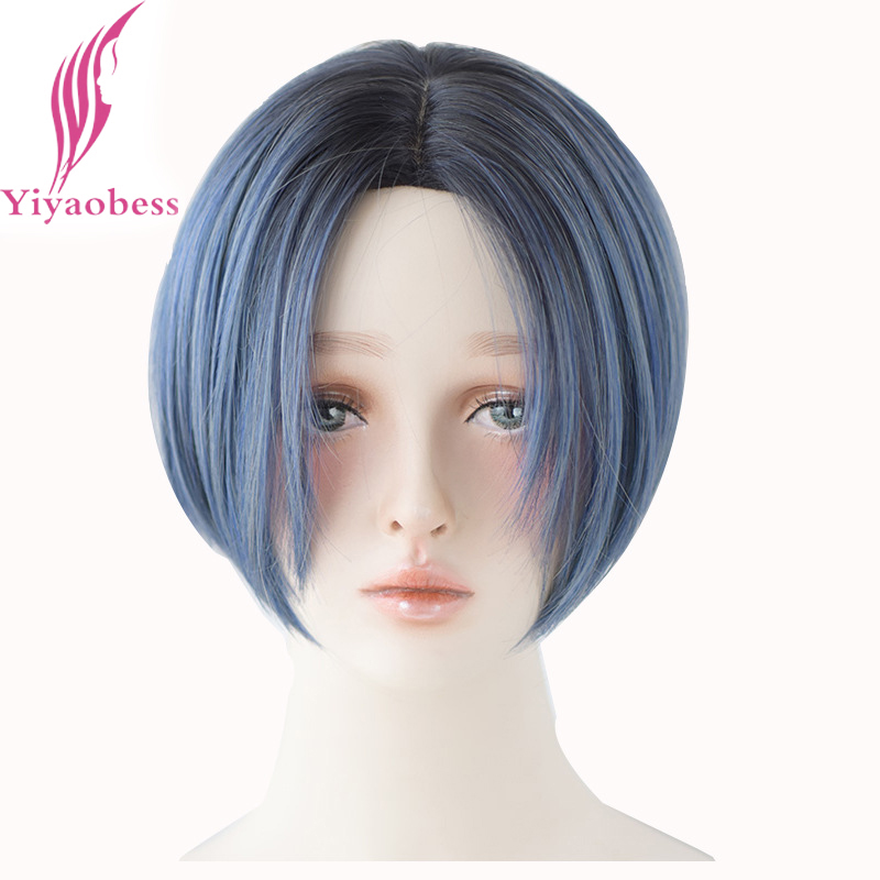 Yiyaobess Europe And United Stated Popular Short Wig Synthetic Blue Brown Ombre Wigs For Women High Temperature Fiber