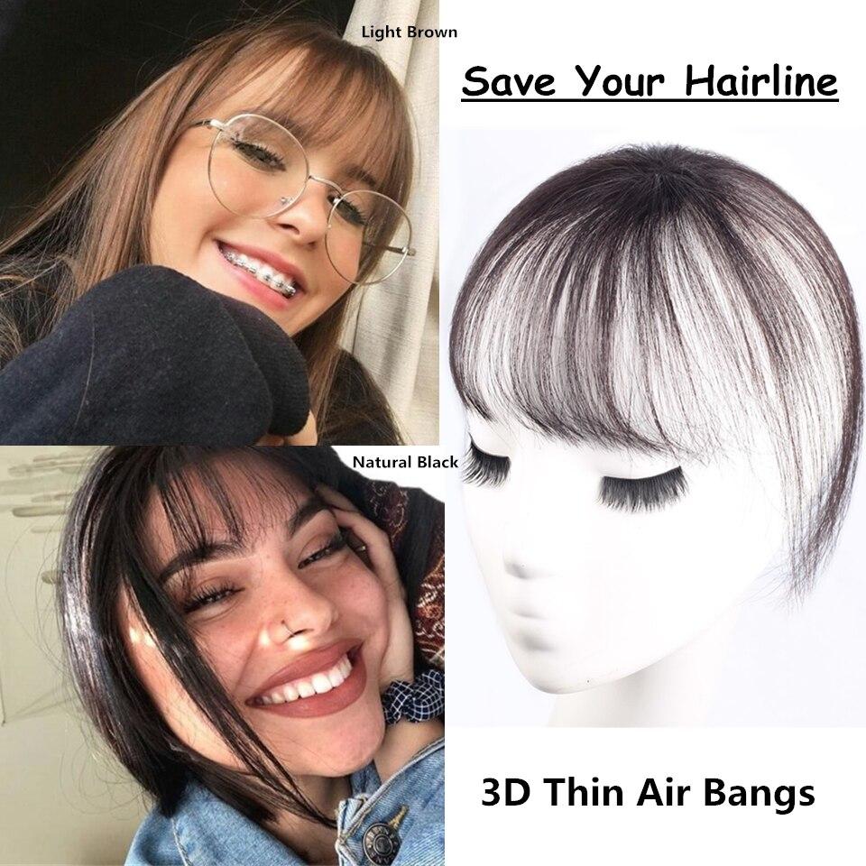 Brazilian Human Hair Bangs Clip Gfake Bangs with Temples Thin Air Blunt Light Bangs Headband Hand-made Clip on Bangs Hairpiece