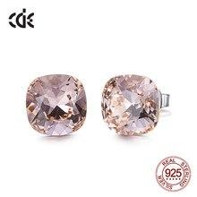 Cde 925 brincos quadrados de prata esterlina embelezado com cristais brincos minimalistas jóias femininas