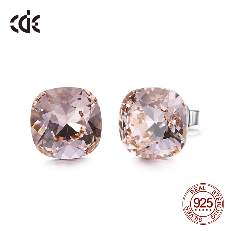 CDE 925 Sterling Silver Square Stud Earrings Embellished with Crystals from Swarovski Minimalist Earrings Women Jewellery(China)