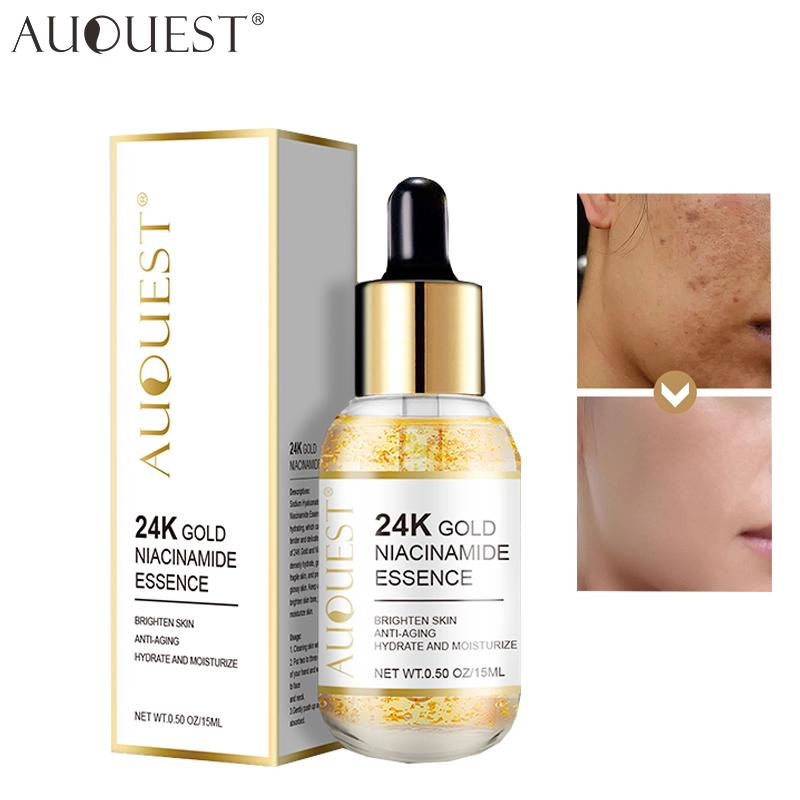 AUQUEST 24k Gold Face Serum Hyaluronic Acid Serum Whitening Moisturizing Anti Wrinkle Cosmetics Firming Skin Care