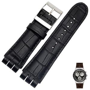 Image 5 - 23MM Genuine Calf Leather Watch Band Steel Clasp For Swatch IRONY YOS440 449 448 401G Watch Strap Watchband Bracelet Wrist Man