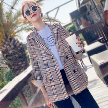 Vintage Plaid Ladies Blazer Khaki Loose Casual Stylish Suit Jacket Blazer Largo Mujer Korean Office Women Blazer Spring MM60NXZ