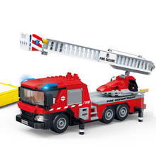 Gudi City Fire Sets Station Series Ladder Truck Building Blocks Classic Bricks Model Kids Toys For Children Compatible Boy Gifts enligthen 1120 city series happy journey truck camping car model building blocks action figure bricks toys for children gifts