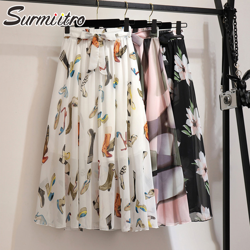 Surmiitro Long Skirt Women For 2020 Spring Summer Boho Ladies Korean White Black Chiffon Pleated High Waist Maxi Skirt Female