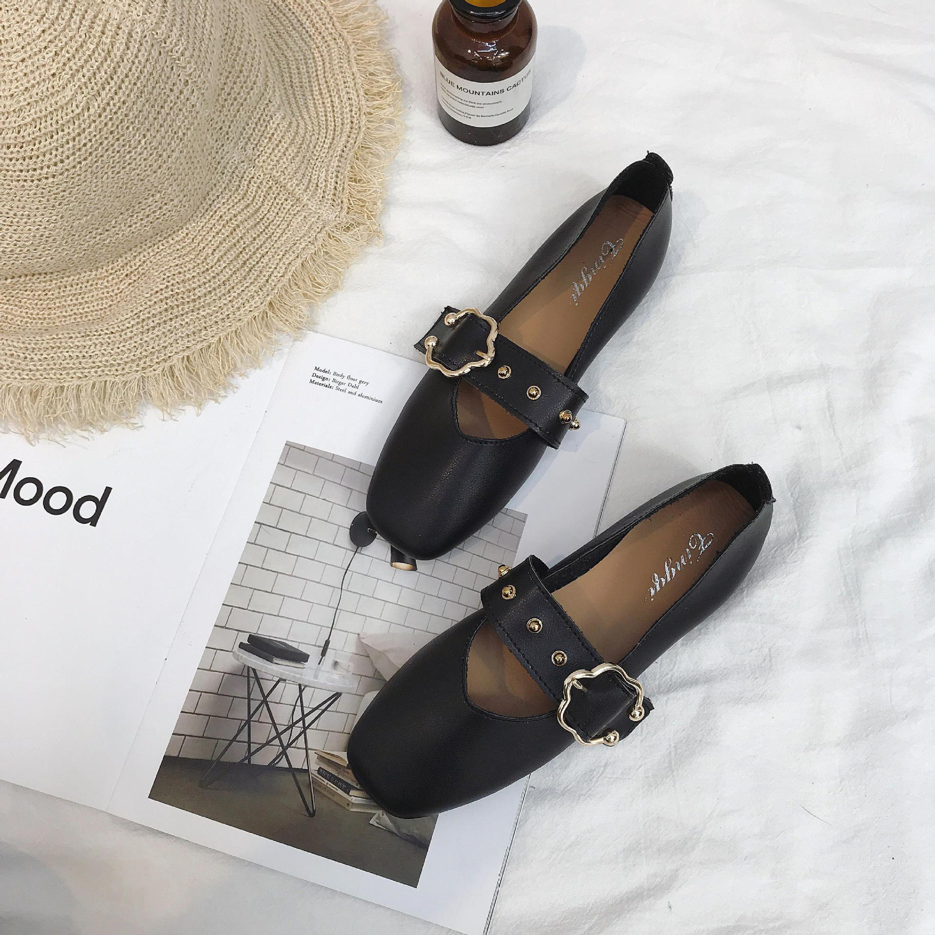 2019 Japanese Korean New Style Soft Girl Square Head Flat Straight-line Buckle Mary Jane Shoes Versatile Single Shoes Women's Fa