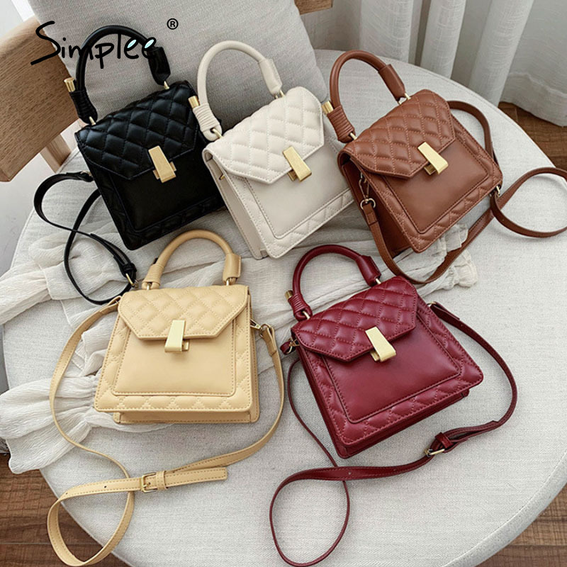 Simplee Mini Small Square  Women Shoulder Bag Solid Office Lady Retro Faux Pu Leather Handbags Button Female Chic Female Bags