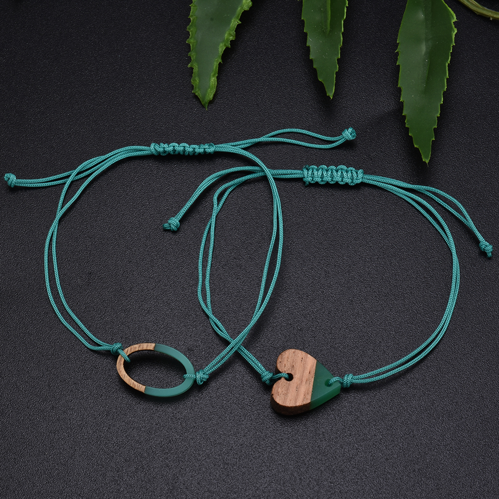 Simple Cute Green Rope Chain Bracelet for Women Charm Heart Cactus Round Bracelet Accessories as Sweet Wedding Jewelry Gift 1
