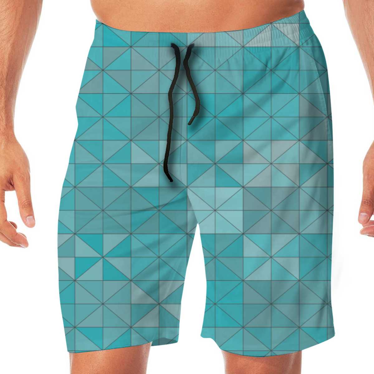 Blue Tile Men's Beach Pants Quick Drying Beach Shorts Swimming Surfing Boating Water Sports Trunks Loose Swimwear Shorts