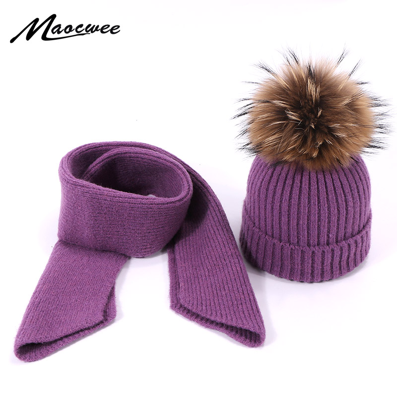 New 2 Pieces Winter Real Fur Pompon Wool Hat Scarf Set For Children Knitted Cotton Baby Girls Boys Accessories Hats Scarves Set