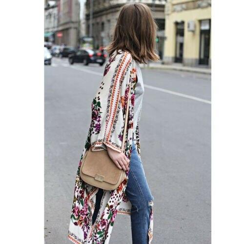 Women Loose Floral Print Blouse Summer Casual Boho Chiffon Coat Shawl Kimono Cardigan Tops Plus Size 3XL 4