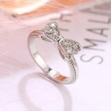 Bague EN argent avec nœud EN cristal pour femme, bijou Vintage EN zircone cubique, idéal comme cadeau de mariage ou de la saint-valentin
