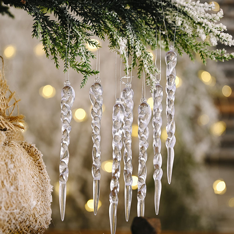 10pcs 13cm Christmas Simulation Ice Xmas Tree Hanging Ornament Fake Icicle Winter Party Christmas New Year Decoration Supplies