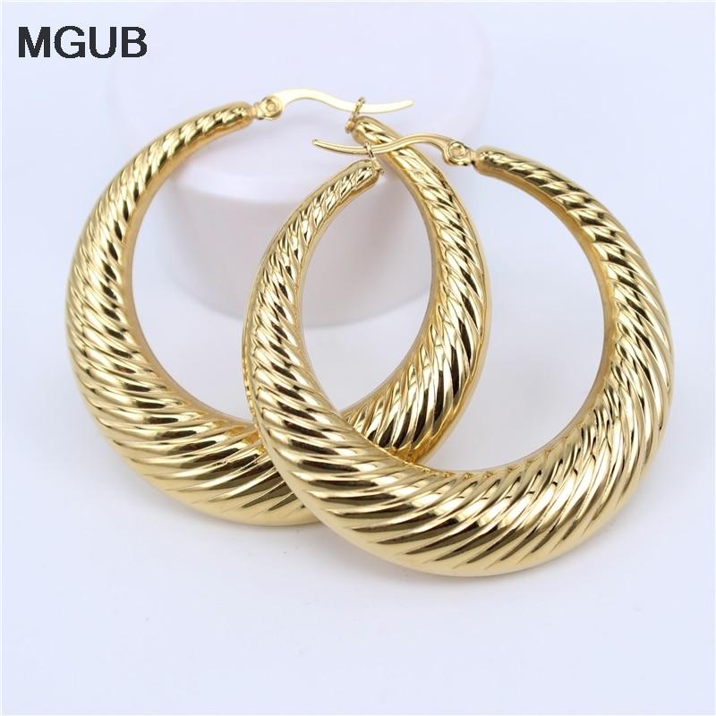 2020 New design Gold Color classic Stainless Steel  Women Hoop Earrings Girls Fashion Earrings Round diameter 23-48mm SL422