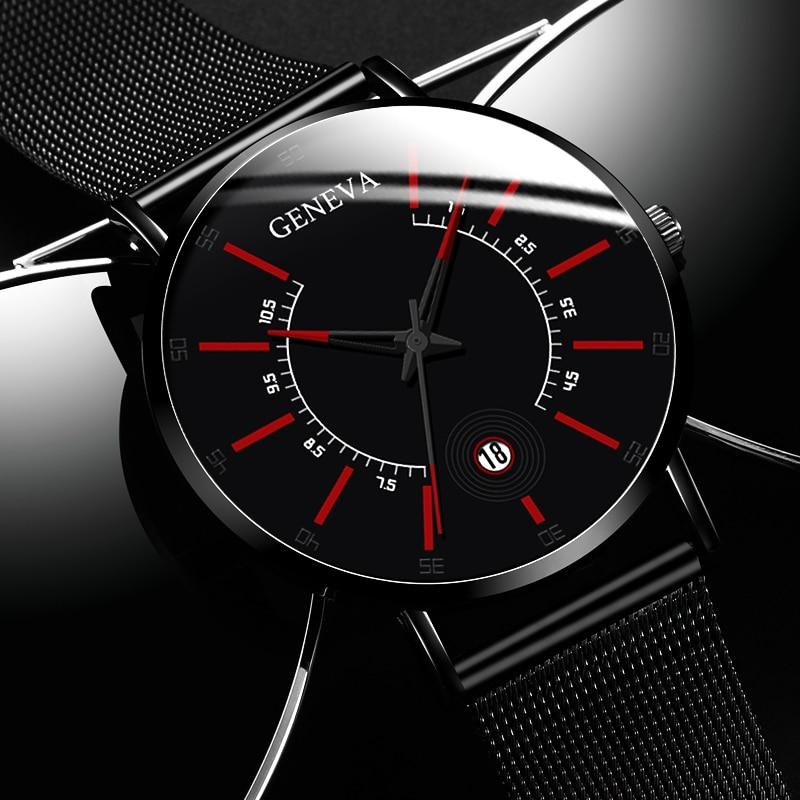 Fashion Mens Business Watches Luxury Stainless Steel Ultra Thin Mesh Belt Quartz Men Wrist Watch Casual Classic Black Male Watch