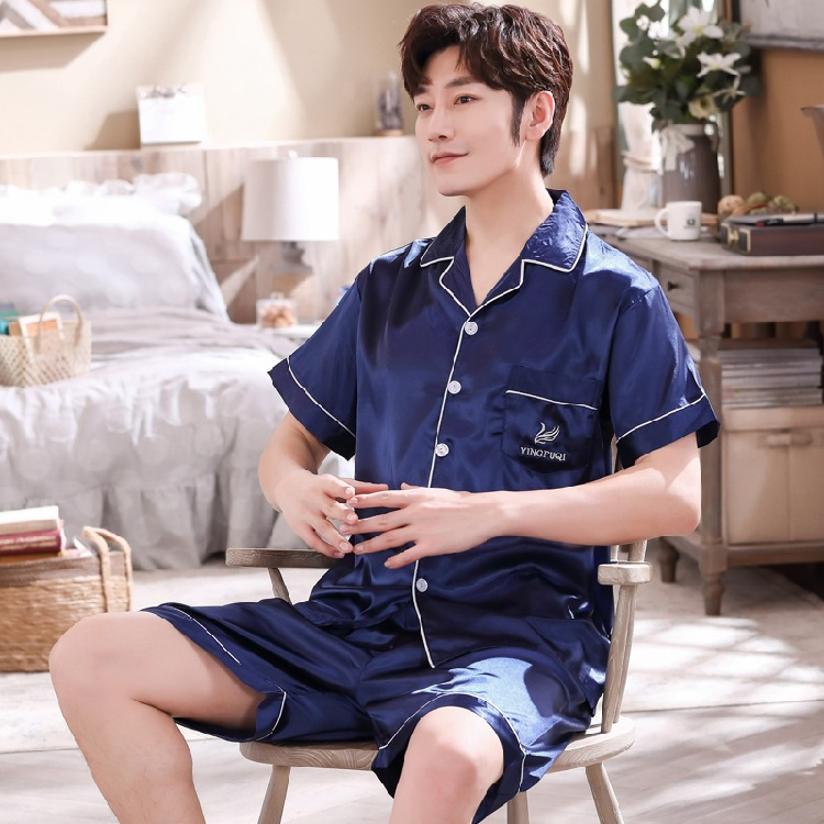 Viscose Pajamas Men Summer Short Sleeve Shorts Set Thin Youth Korean-style Tracksuit Spring And Summer Days 789 Blue